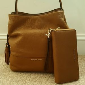 Light brown leather Michael Kors purse and wallet
